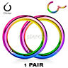 """2pcs. 20G 5/16"""" Anodized Seamless Hinged Segment Ring Nose Hoop Septum Clicker"""