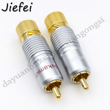 10 pcs Nakamichi Pure Copper Gold Plated RCA Jack Plug Connector adapter