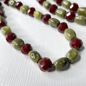 """Beautiful Olive Green Ceramic & Dark Red Glass Beaded Necklace 30"""" (SMG100)"""