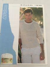 Patons mens sweater jumper vintage knitting pattern cotton DK 7402