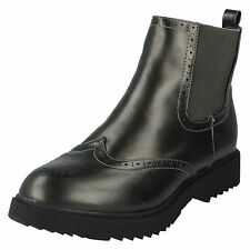 LADIES WOMENS SPOT ON PULL ON WINTER BROGUE CASUAL CHELSEA ANKLE BOOTS F50483