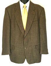 Cavelli mens brown tan houndstooth wool blazer jacket sport coat 46L