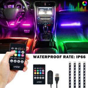 4pcs 36LED RGB Car Interior Atmosphere Light Strip IR Remote Music Control Lamp