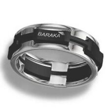 AUTHENTIC ITALIAN BARAKA 18K 750 WHITE GOLD WITH STAINLESS STEEL RING AN21445