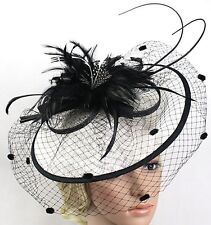 STUNNING BLACK & WHITE SINAMAY FASCINATOR WITH FEATHERS, SPRING RACING, WEDDING
