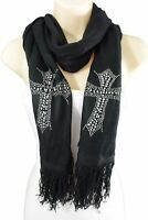 New Women Scarf Black Fabric Fashion Long Silver Beads Cross Bling Charm Wrap