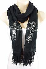 New Women Scarf Black Fabric Fashion Long Silver Beads Cross Bling Charm Wrap