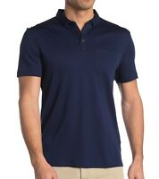 John Varvatos Star USA Men's Short Sleeve Burlington Interlock Polo Ink Blue XL