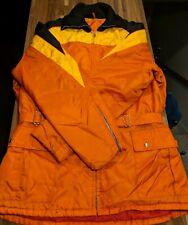 Vintage Ski-Doo Bombardier Womens Racer Jacket Snowmobile Orange Yellow