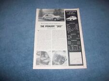 "1955 Peugeot 203 Sedan Vintage Info Article ""Road Testing A French Family Car.."""