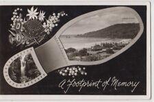 Postcard Rose 1951 footprint of Lorne Victoria Australia beach & waterfalls