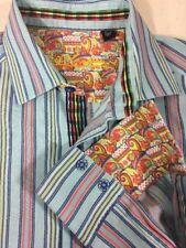 Robert Graham Blue Striped Button down Sport Shirt Flip Cuff SZ. Medium Cotton