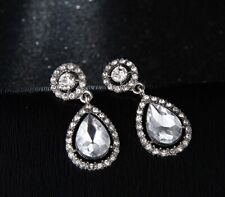 Crystal Earrings Long Drop Teardrop Clear Diamante Silver Round Ear Stud Earring