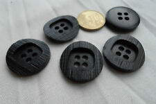 6 Knöpfe ❤️ Mantelknopf schwarz black Riffel 22mm Jackenknopf leicht 4 Löcher