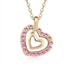 "Swarovski Elements Pink Crystal Open Heart Pendant Necklace 18K Gold Plated 18"""