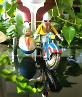 Vintage Tin Toy Motorcycle w/ Sidecar Windup Litho + Key 70'S Q-S-N # 605 Works!