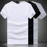 Men's V Neck Round Neck cotton T-shirt Slim Fit Short Sleeve Solid Color Casual