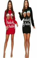 New Women's Ladies XMAS Hands Of My Pudding Knitted Midi Tunic Jumper dress
