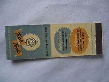 Tick Tock Restaurant Hollywood, Toluca California Vintage  Matchbook Cover