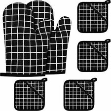 New listing 2 Pieces Oven Mitts And 4 Pot Holders Kitchen Non-Slip Gloves Hot Pads For Heat