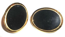 PAIR OF BLACK ENAMEL NAPIER CLIP EARRINGS-gold finish