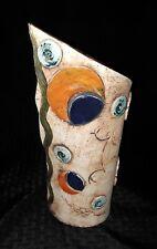 Gabiza Puerto Rico Studio Pottery Hand Made Mid Century Abstract Design Vase EXC