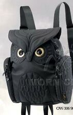 Owl ladies BLACK 3D backpack MORN CREATIONS Small bag girl female legend