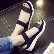 4 Colors New Women Summer Casual Peep Toe Block Low-Heels Sandals Leather Shoes