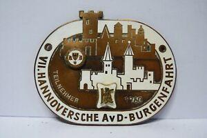 AVD Auto Plakette VII.Hannoversche Burgenfahrt 1960