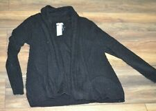 Croft & Barrow Classic Open Front Cardigan Black Cable Knit Sweater