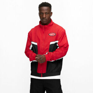 Nike Throwback Woven Windbreaker Men's Full Zip Jacket Red/Black AV9755 657