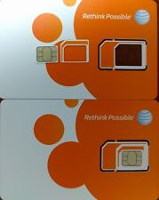 100 X AT&T ATT FACTORY 3 IN 1 SIM.  4G LTE sim card  NEW UNACTIVATE, TRIPLE CUT