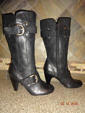 "Womens Kelly & Kate ""Raina"" Sz 9M  Black Leather Boots Buckles Detail 3.5"" Heels"