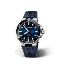 Genuine Oris 43.5mm Aquis Date 733.7730.4135.RS Blue dial rubber strap Diver