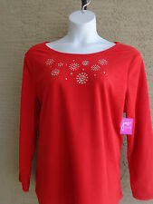 NWT JUST MY SIZE  COZY POLAR  FLEECE BEAD EMBELLISHED CREW NECK TOP Red  4X