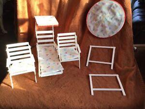 Vintage Genuine Barbie Patio Set 1980s White 2 Chairs Lounge Pads