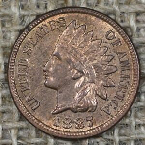 1887 1C UNC RB Indian Head Penny Cent Red Brown