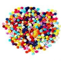 100 x Multi Coloured Round Resin Teeny Tiny Buttons 6mm For Dolls Craft Cards