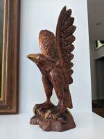 "Hand-carved Folk Art Wooden Eagle Sculpture 18"" 1 piece of wood"