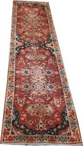old Turkish handmade wool Konya runner rug in red Oriental carpet 11.6 x 2.6 ft