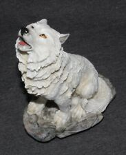 White Wolf Statue Animal Ornament Wild Zoo Figurine Sculpture Art Howling 20cm