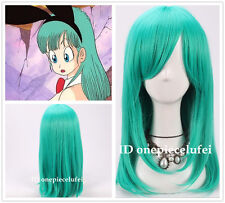 Bulma Medium Long Straight Anime Teal Green Cosplay Party Full Wig +a wig cap
