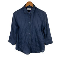 Uniqlo Womens Button Up Blouse Top Size Medium Navy Blue Pure Flax 3/4 Sleeve