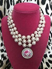 Tarina Tarantino Pink Head Hello Kitty Bride Bridal Glass Pearl Choker Necklace