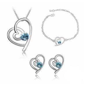 Sky Blue Silver Love Heart Themed Jewellery Necklace Bracelet & Earrings Set UK