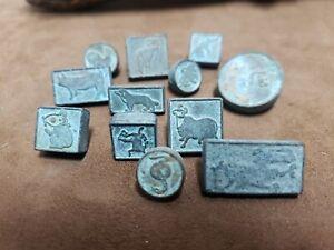 Vintage Chinese Brass 12 Zodiac Small Seal Set
