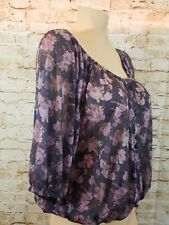 New RUE 21 Womens Crop Top Size Large Floral Pattern Button Down Elastic Cute!