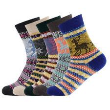 Women Winter Socks Wool Quarter Knit Thick Warm Chunky Deer Ankle 5 Pair
