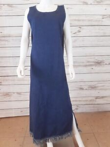 Maria Gabrielle Size XL Denim Maxi Sleeveless Dress Blue Side Slit Fringe Hem