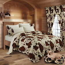 CREAM RODEO COMFORTER!! 1 PC WHITE BROWN BEDDING QUEEN SIZE COW COWHIDE PRINT